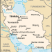Map of Iran with Pakistan to the East